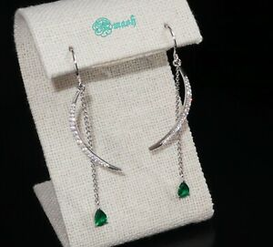 Solid 925 Silver Simulated Emerald diamond long wedding Bridal earrings,Unique