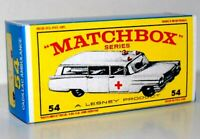 Matchbox Lesney No 54 CADILLAC AMBULANCE empty Repro E style Box
