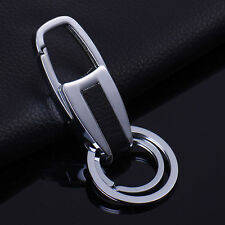 Fashion Men Leather Alloy Metal Keyring Keychain Key Chain Ring Car Keyfob Gift