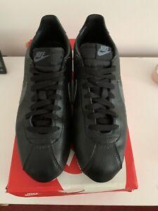 Nike Classic Cortez Black Leather Trainers Size UK 8  EU 42