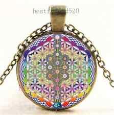Vintage Flower of Life Photo Cabochon Glass Dome Bronze Pendant Necklace