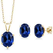 3.40 Ct Simulated Sapphire 18K Yellow Gold Plated Silver Pendant Earrings Set