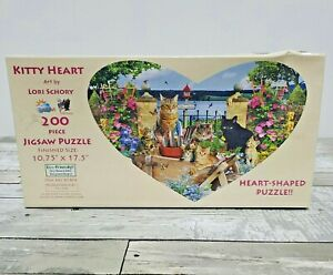Kitty Heart Shaped Jigsaw Puzzle - 200pc Cat Themed Puzzle - New Sealed