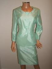 NEW $200 LE SUIT 16P  GORGEOUS MINT Green SATIN  Jacket Skirt Womens Suit NWT