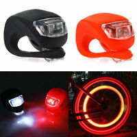 2X Silicone Bike Bicycle Cycling Head Front Rear Wheel LED Flash Light Lamp HD
