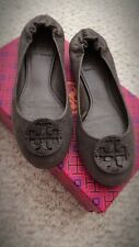 Tory Burch Reva Leather Ballerina Flat Shoes, Dark Grey (Size: 7.5)