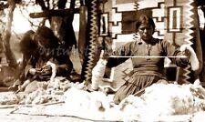 NAVAJO NATIVE AMERICAN INDIAN WEAVER RUG LOOM PHOTO #2