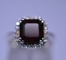STERLING SILVER FILIGREE SETTING SQUARE GARNET & DIAMOND RING 3.20 CT SIZE 6.25