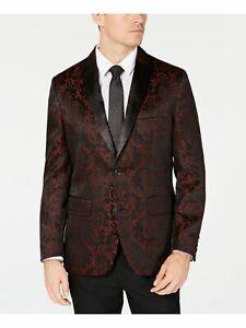 INC Mens Red Printed Slim Fit Blazer L