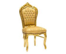 Poltrona Sedia FOGLIA oro tessuto DAMASCATO stile barocco GOLD CHAIR