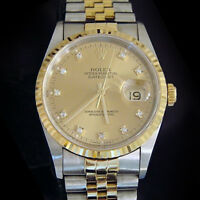 Rolex Mens Datejust 18k Yellow Gold Steel Watch Gold FACTORY Diamond Dial 16233