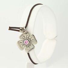 New Pandora Bracelet Clasp Opener Daisy Pink CZ Flower Charm Leather 890000CZ