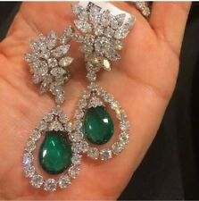 12Ct Cabochon Emerald Simulant Diamond Chandelier Earrings White Gold Fns Silver