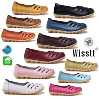 Women Slip On Leather Comfort Work Summer Casual Dirving Loafers Shoes Moccasins