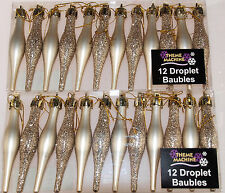 Set Of 24 CHAMPAGNE Christmas Tree Tear Drop Droplet Baubles Decorations