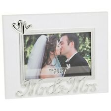 "Mr & Mrs Photo Frame 6 x 4"" Wedding White Silver Hearts Gift Boxed"