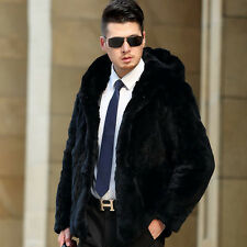 Manteau Homme 100% Fourrure d'élevage Lapin Veste Parkas à capuche Luxueux Mode