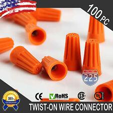(100) Orange Twist-On Wire GARD Connector Conical nuts 22-14 Gauge Barrel Screw