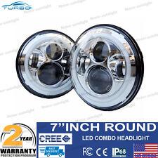 2x 7 Inch Round Halo Angle Eyes LED Headlights For 97-16 Jeep JK Wrangler TJ CJ