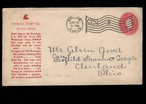 Sterling Stamp Co Don't Destroy Message Boston 1898 Flag # 9 PSE Cover 5e