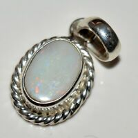 Natural Opal 925 Sterling Silver 5 Carat Pendant Charm Necklace White Jewelry