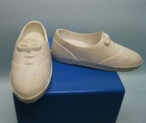 """Vintage 1960s Sindy Doll clothes access: White faux lace TENNIS SHOES 1 ⅜"""" LONG"""