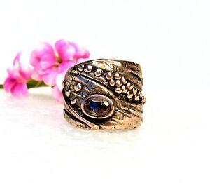 Organic Style Golden Bronze Ring-Topaz Stone-Size 7