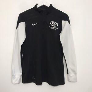 NIKE DRI FIT Black 1/4 Zip Sweater Retro Swoosh Logo Running Etc Men's Medium
