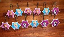 12 Disney FROZEN Elsa Anna Olaf shower curtain hooks Blue & Purple