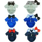 Fitwarm Handsome Boy Dog Coat Pet Clothes Bow Tie POLO Wedding Apparel XS S M L