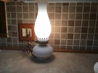 "Milk Glass ELECTRIC Light Oil Lamp Shape Ruffled Hobnail w/ Lamp Shade14"" Tall"