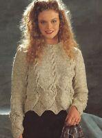 """Ladies Scalloped edge Sweater Knitting Pattern Larger sizes 30-52"""" Aran 273"""