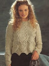 "Ladies Scalloped edge Sweater Knitting Pattern Larger sizes 30-52"" Aran 273"