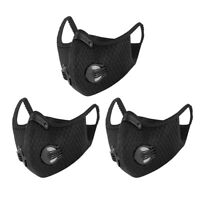 3PACK Cycling Air Purifying Face Mask Cover Haze Washable Reusable Filter Black