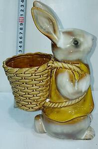 RABBIT Ceramic / China Figurine Flowers Holder 25cm High x15cm Wx 5cm Deep