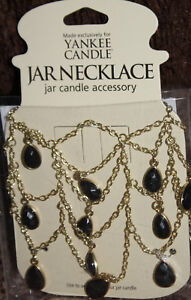 NEW fits 22 oz jar YANKEE CANDLE decorative BLACK ONYX TEARDROP NECKLACE