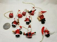 Vintage Lot of 10 Mini Wood Christmas Santa Hanging Ornaments Hand painted