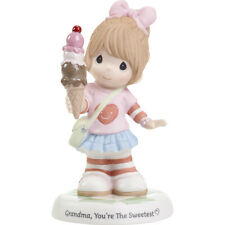 * New Precious Moments Figurine Sweetest Grandma Girl Porcelain Statue Ice Cream