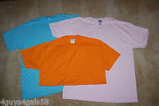 Mens LOT OF THREE Tee Shirts HEAVY WEIGHT Orange PASTEL PINK Aqua Blue L 42-44