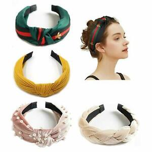 Women Cute Hair Band Twist Band Top Knot Plain Pearl Braided Headband Lady Wear
