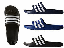 Adidas Duramo Mens Slides Flip-Flops Pool-Beach Slippers Black Navy Blue Stripes