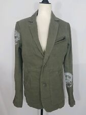 Diesel Womens Military Green Buttoned Zip Sleeve Jacket Coat Size Small