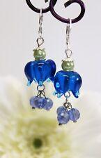 Glass Jewels Silber Ohrringe Ohrhänger Perlen Lampwork Blüten Blau #L071