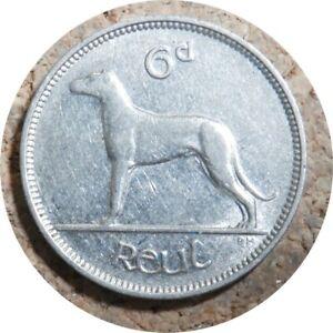 elf Ireland Irish Free State  6 Pence 1940  Dog  Wolfhound  World War II