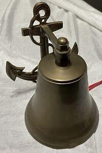 Vintage Nautical Cast Metal Wall Hang Ringing Bell Anchor