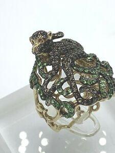 Green Sapphire Monkey Ring Size 6.75