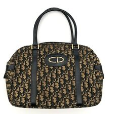 Christian Dior Vintage Hand Bag Trotter Monogram Canvas Leather Navy Authentic
