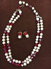 Vintage Costume Jewelry Necklace and Clip Earrings