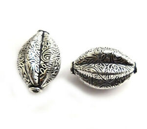 3 PCS 28X18MM OVAL TEXTURED BEAD OXIDIZED STERLING SILVER PLATED 798 NKJ-462
