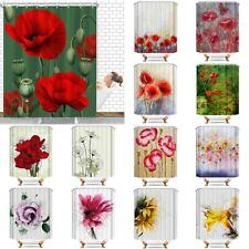 Retro Flowers Waterproof Bathroom Home Decor Shower Curtain Set With 12 Hooks